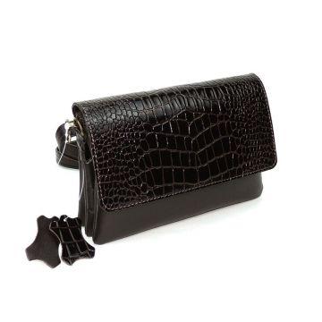 сумка женская кожаная кора (коричневая)