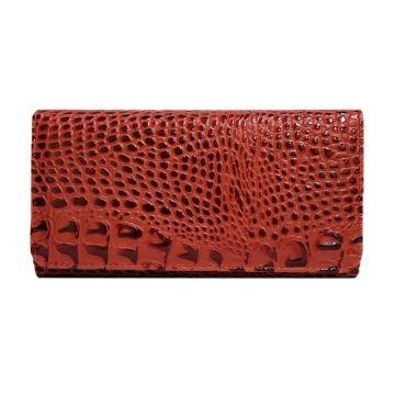 женский кошелек из натуральной кожи (кайман красный) вп-2 к кайман красный
