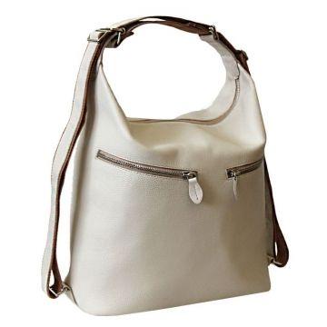 сумка-рюкзак лада из натуральной кожи (бежевая)