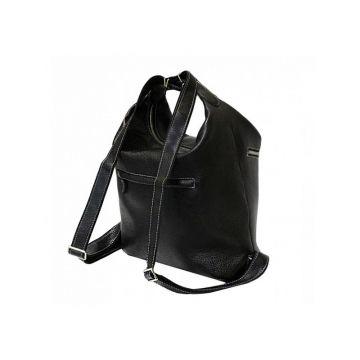 сумка-рюкзак лада из натуральной кожи (чёрная)