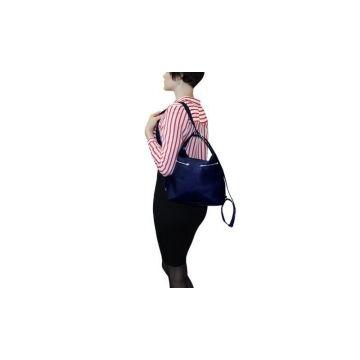 сумка-рюкзак лада из натуральной кожи (синяя)