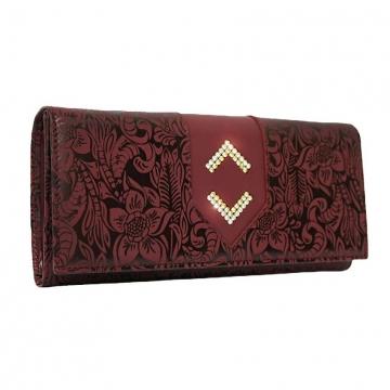 женский кошелек из натуральной кожи (бордовый)