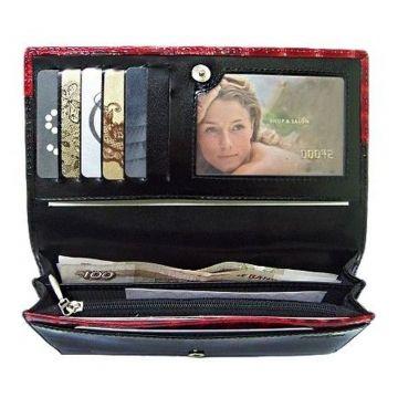 Женский кошелек кожаный со стразами чёрно-красный купить