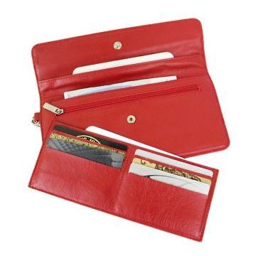 женский кошелек-клатч из натуральной кожи (красный)